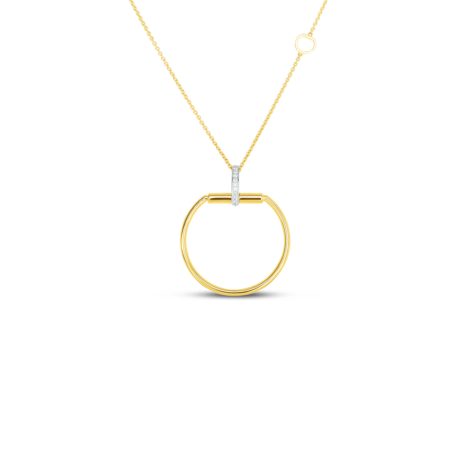 18k tapered stirrup pendant with diamond accent on long chain
