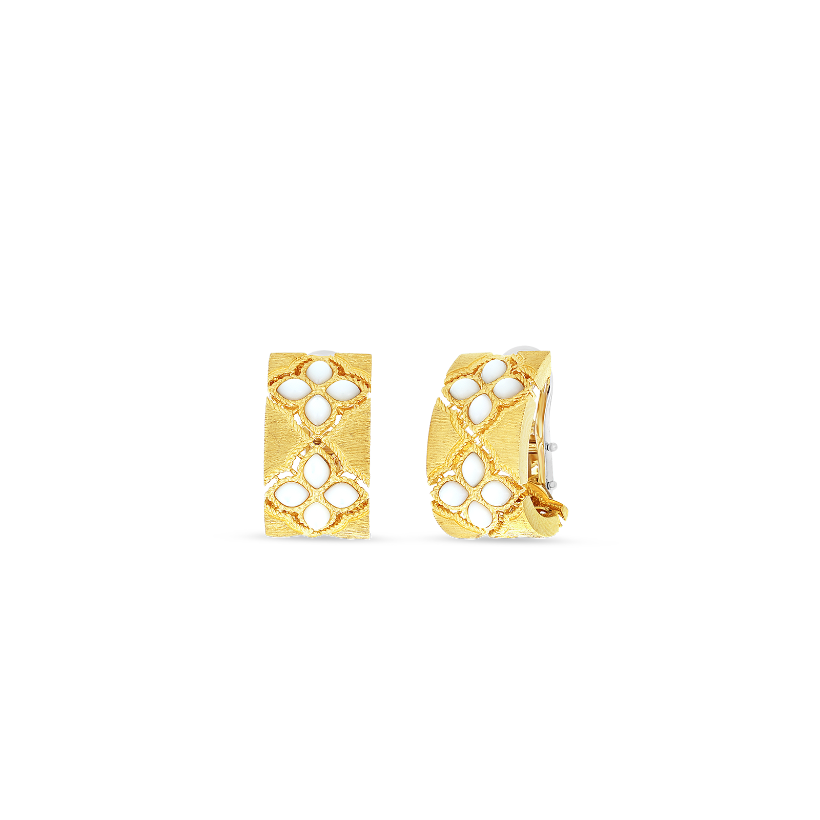 18kt gold wide mother of pearl j hoop earrings
