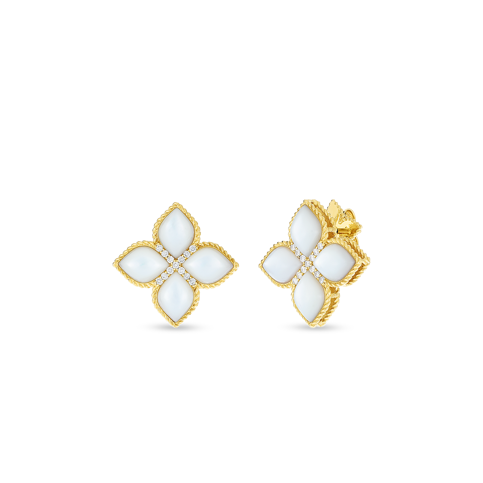 18kt large mother-of-pearl & diamond stud earring