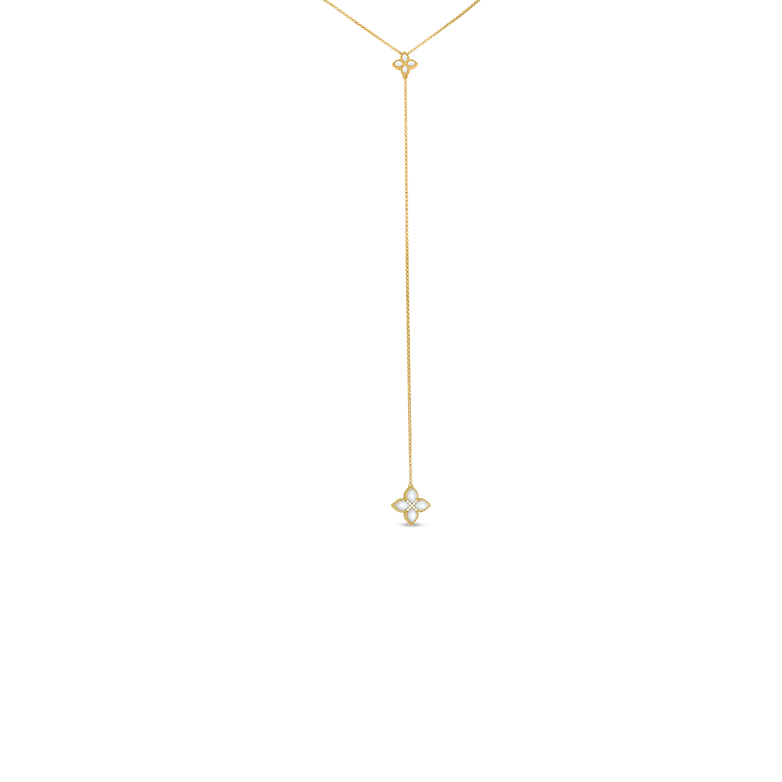 18kt diamond & mother-of-pearl lariat necklace