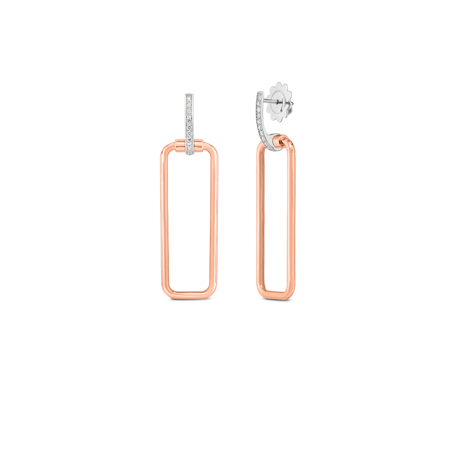 18k small square drop earring with diamond accent
