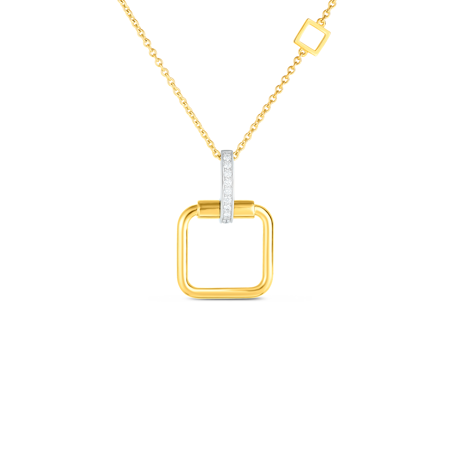 18k small square pendant with diamond accent on chain