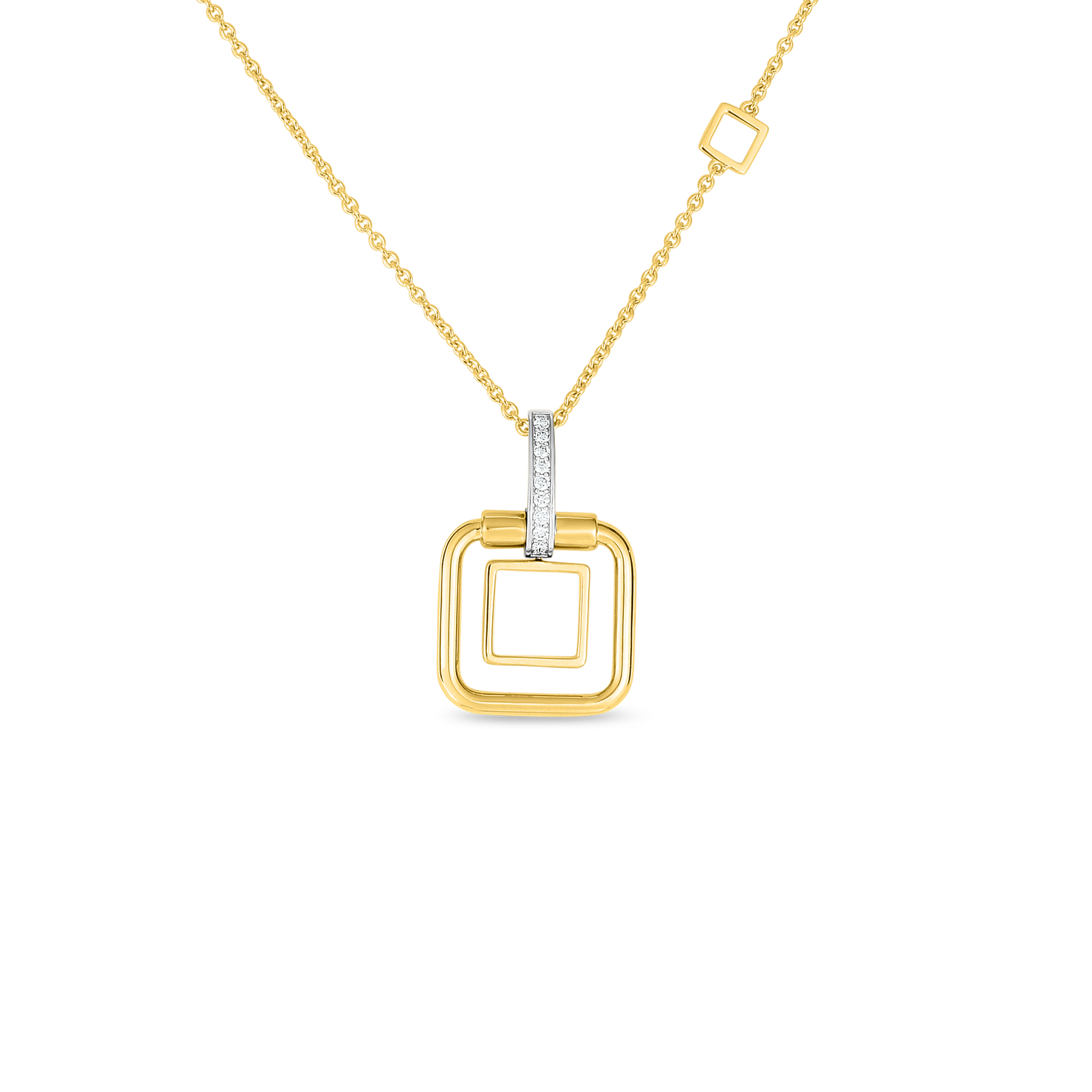 18k sm double square pendant with diamond accent on chain