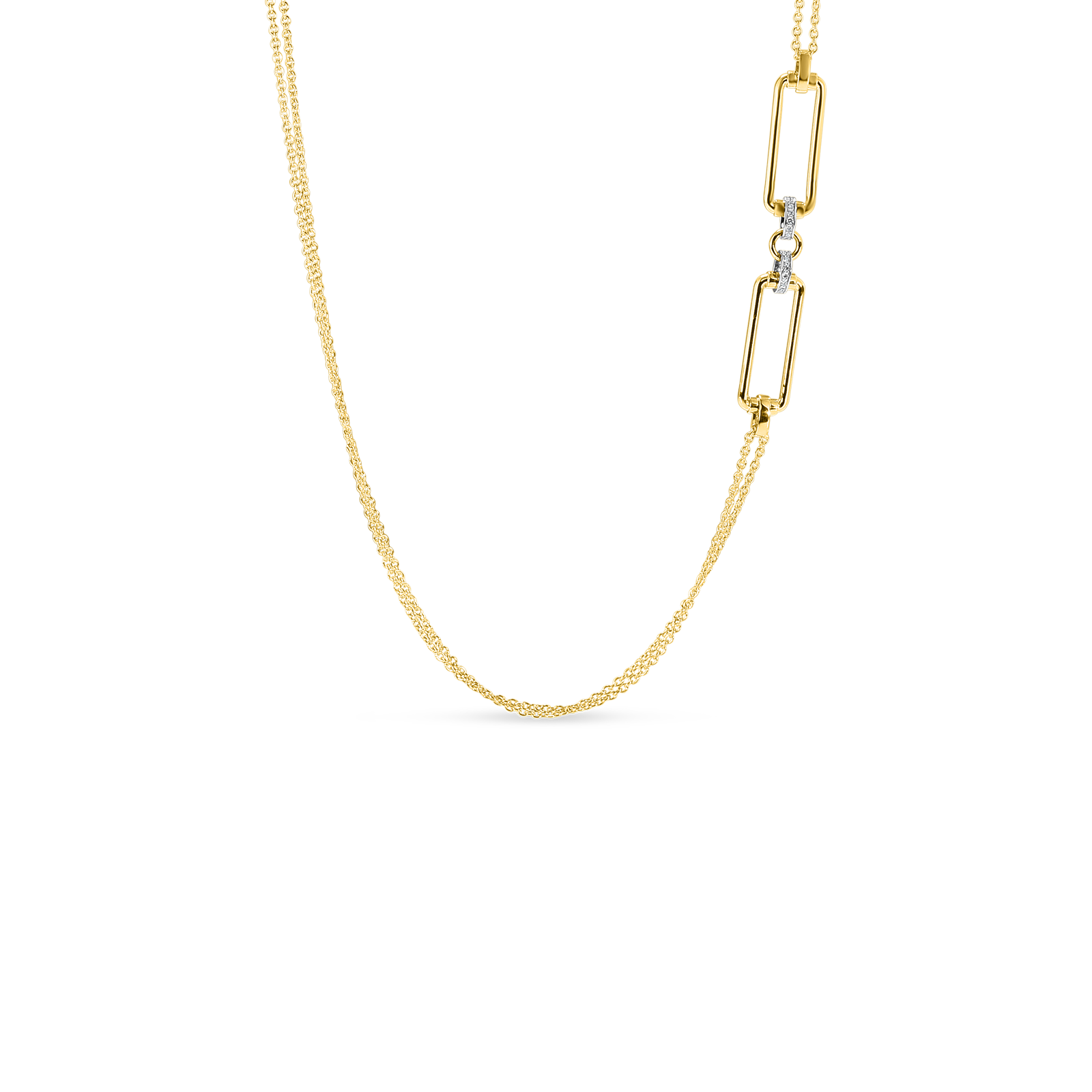 18k long chain with rectangular elements & diamond accent