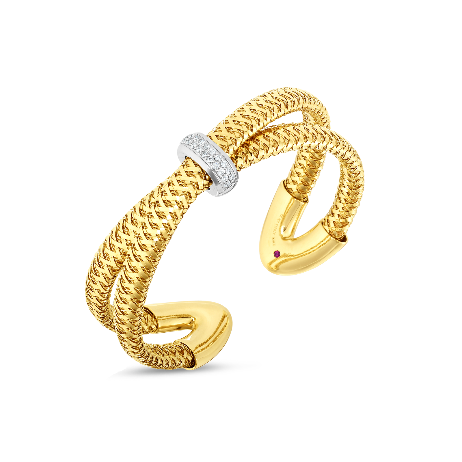 18k Gold & Diamond Primavera Crossover Cuff Bangle