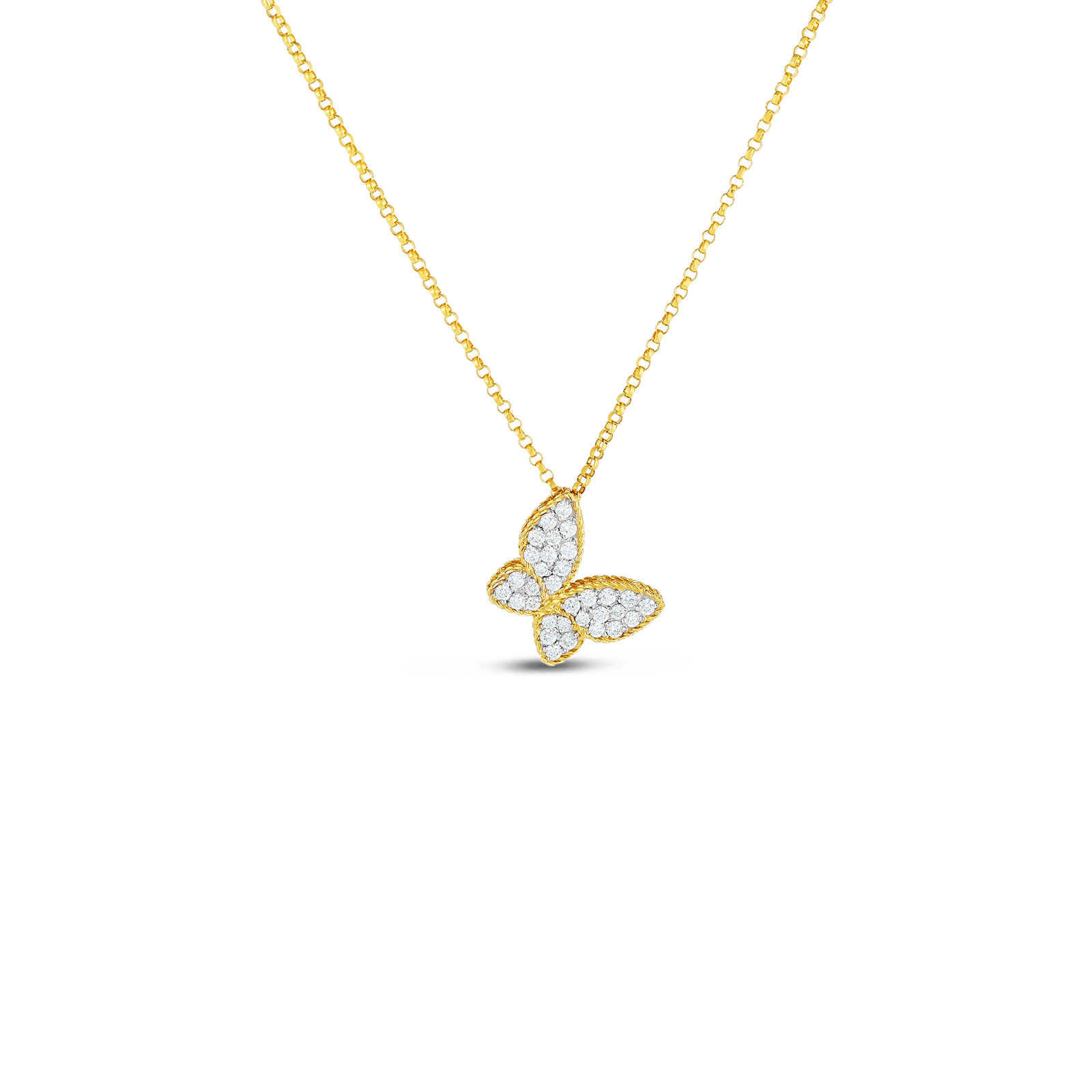 18kt gold butterfly pendant with diamonds