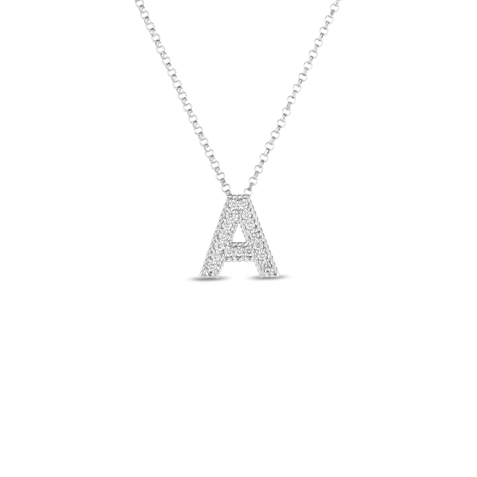 18k Gold & Diamond Princess Initial 'A' Pendant On Chain