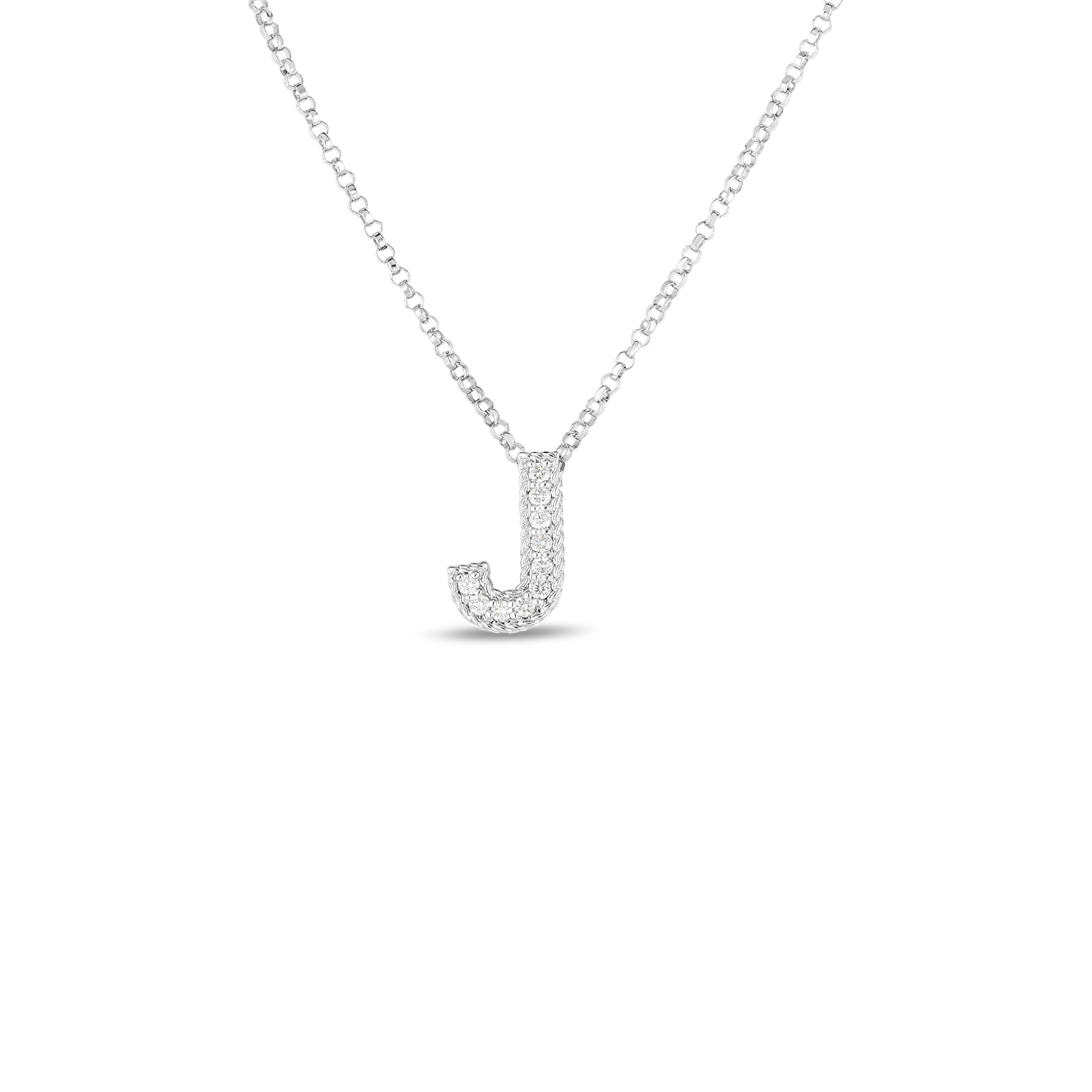 18k Gold & Diamond Princess Initial 'J' Pendant On Chain