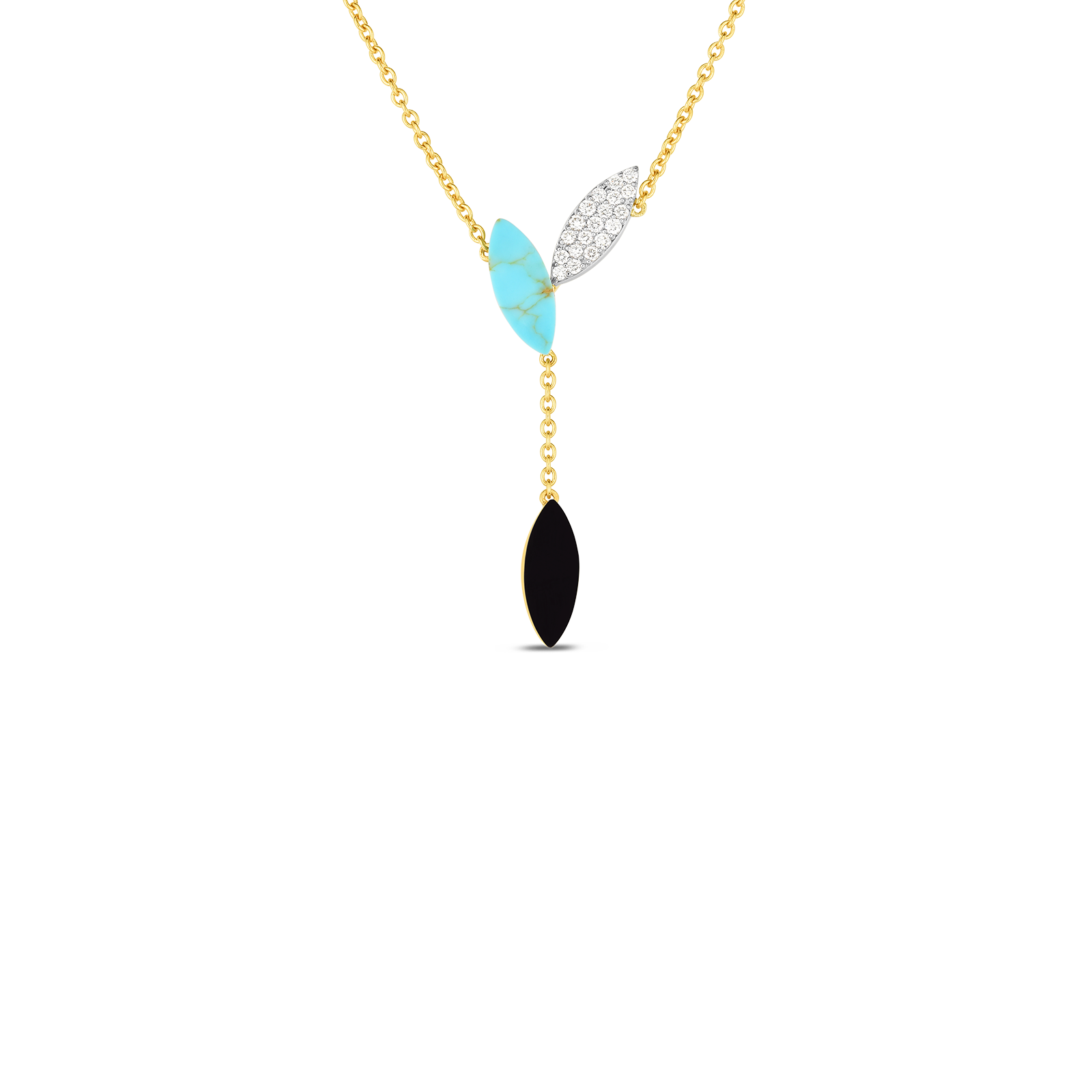 18kt Gold Petal Pendant With Diamonds, Black Jade And Turquoise