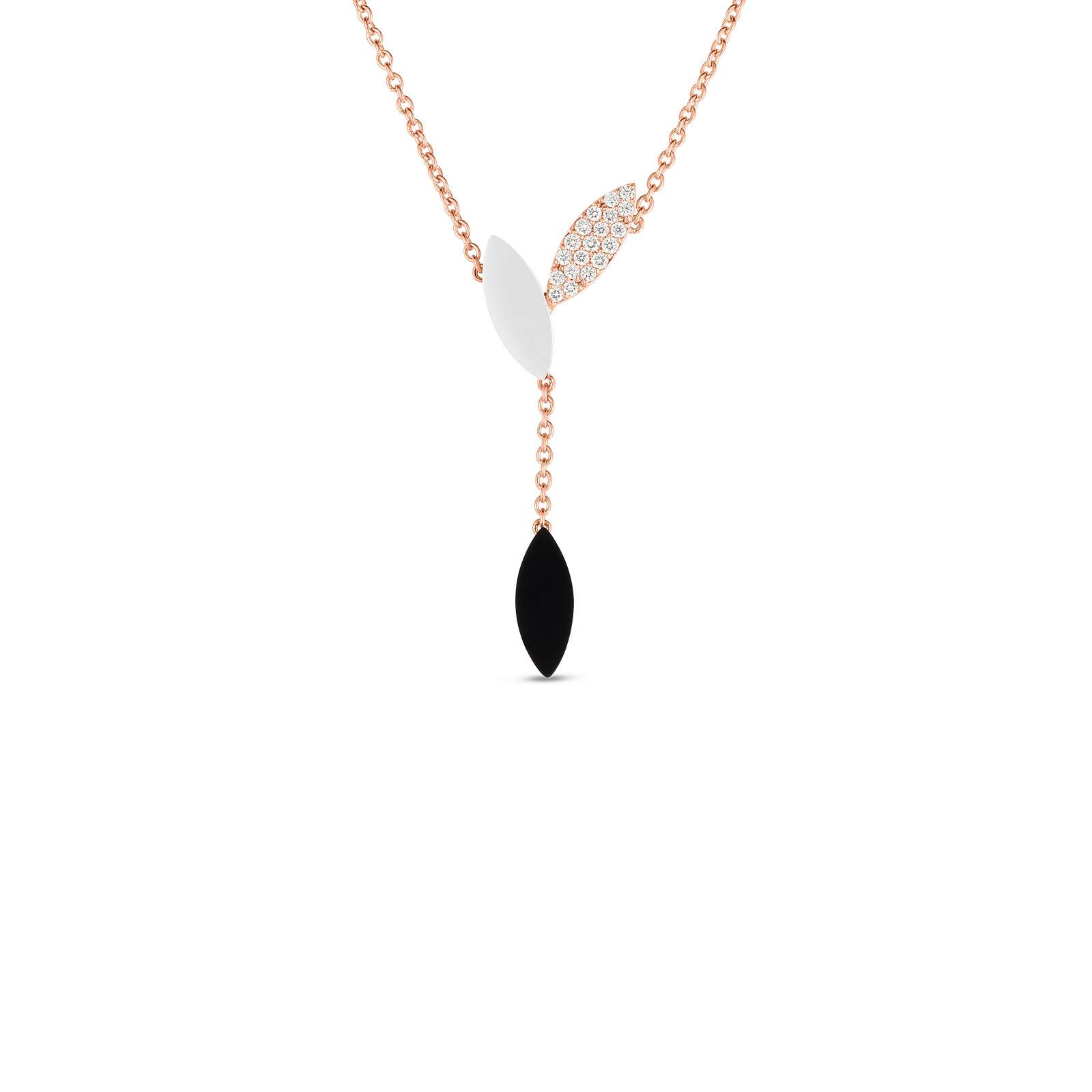 18kt Gold Petal Pendant With Diamonds, Mother Of Pearl And Black Jade