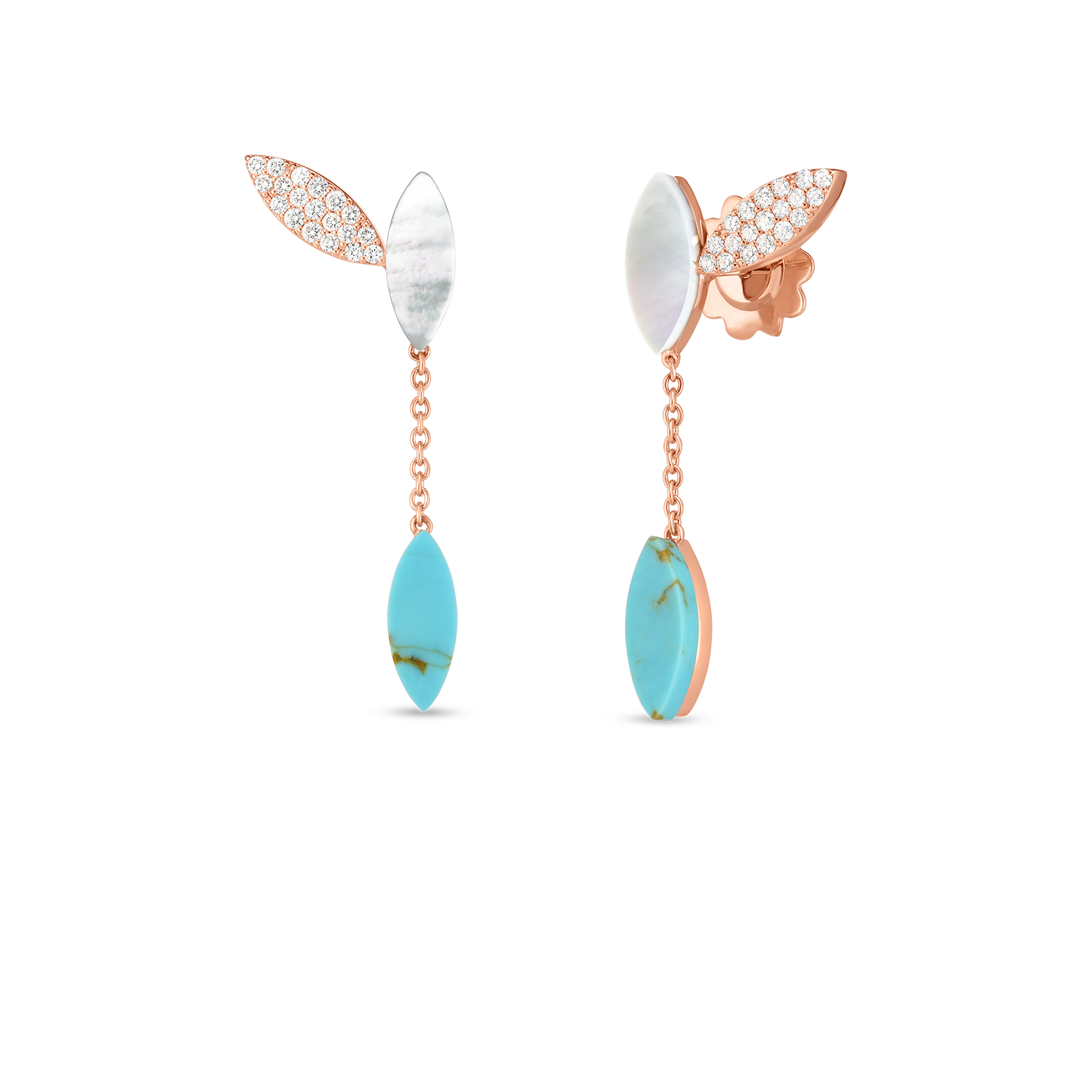 18kt Gold Petal Earrings With Diamonds, Turquoise And Mother Of Pearl