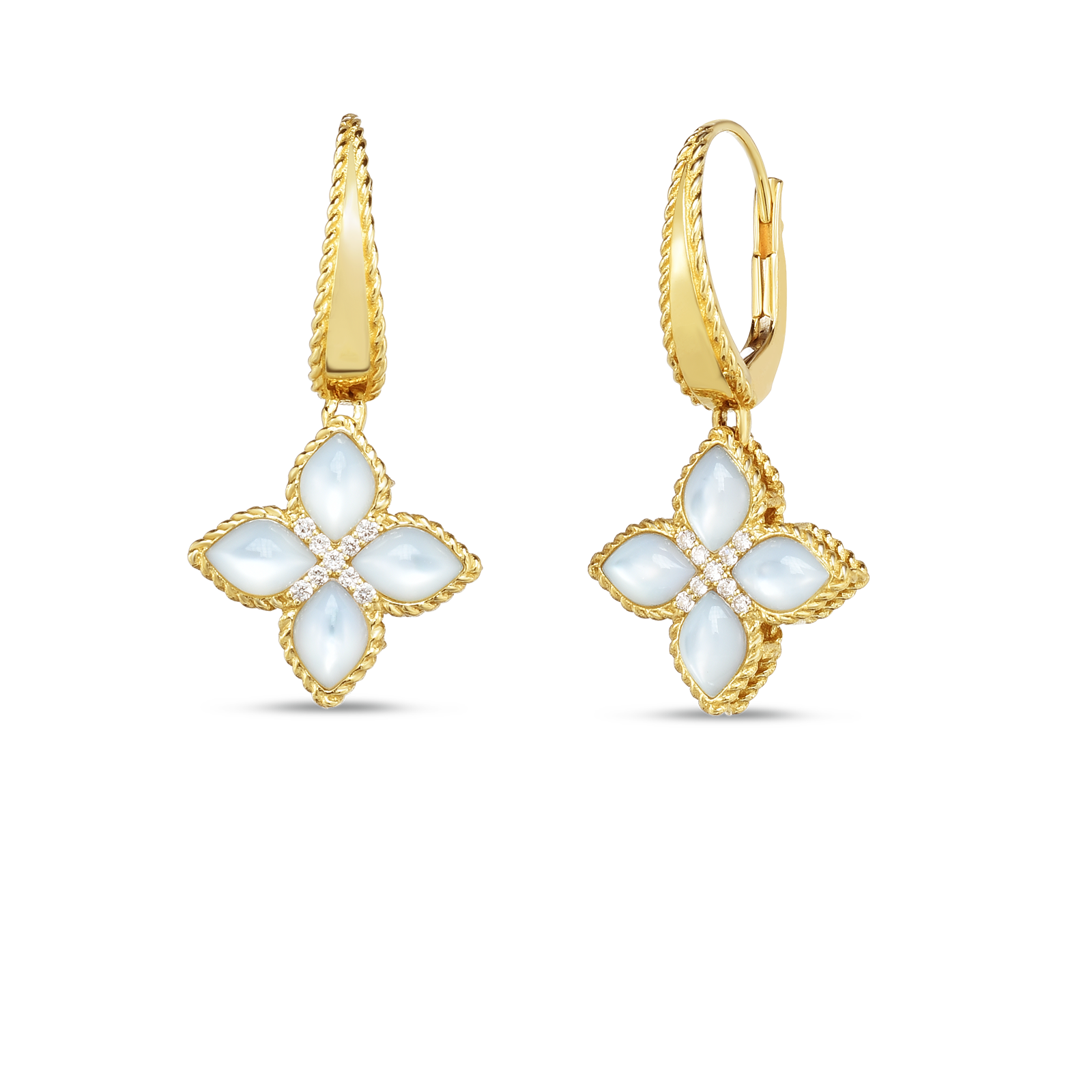 18k Gold, Dia & Mop Venetian Princess Medium Drop Earring