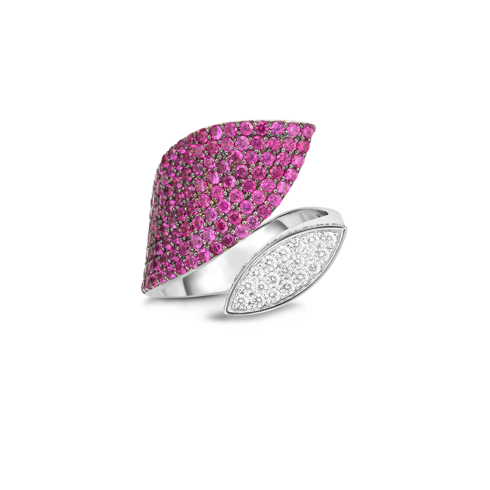18k Gold, Diamond And Pink Sapphire Petal Wrap Ring