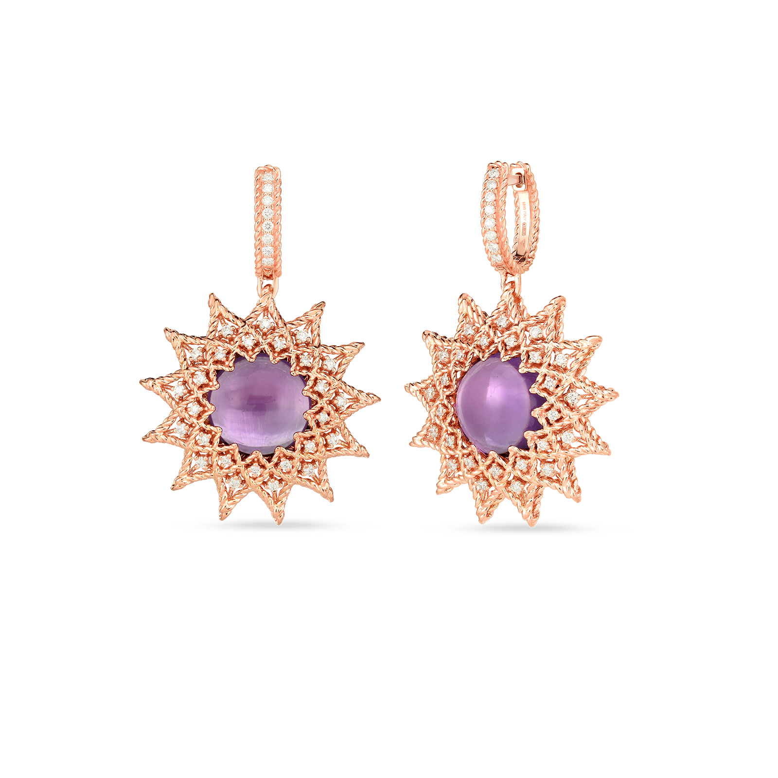 18k Gold, Diamond & Amethyst Roman Barocco Sunburst Drop Earrings