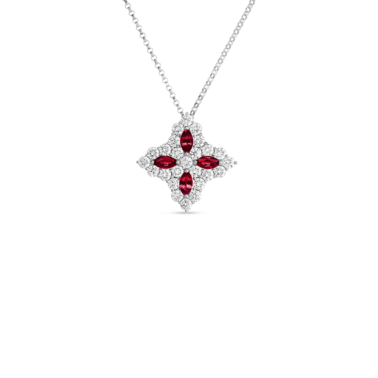 18k Gold, Diamond & Ruby Princess Flower Large Pendant