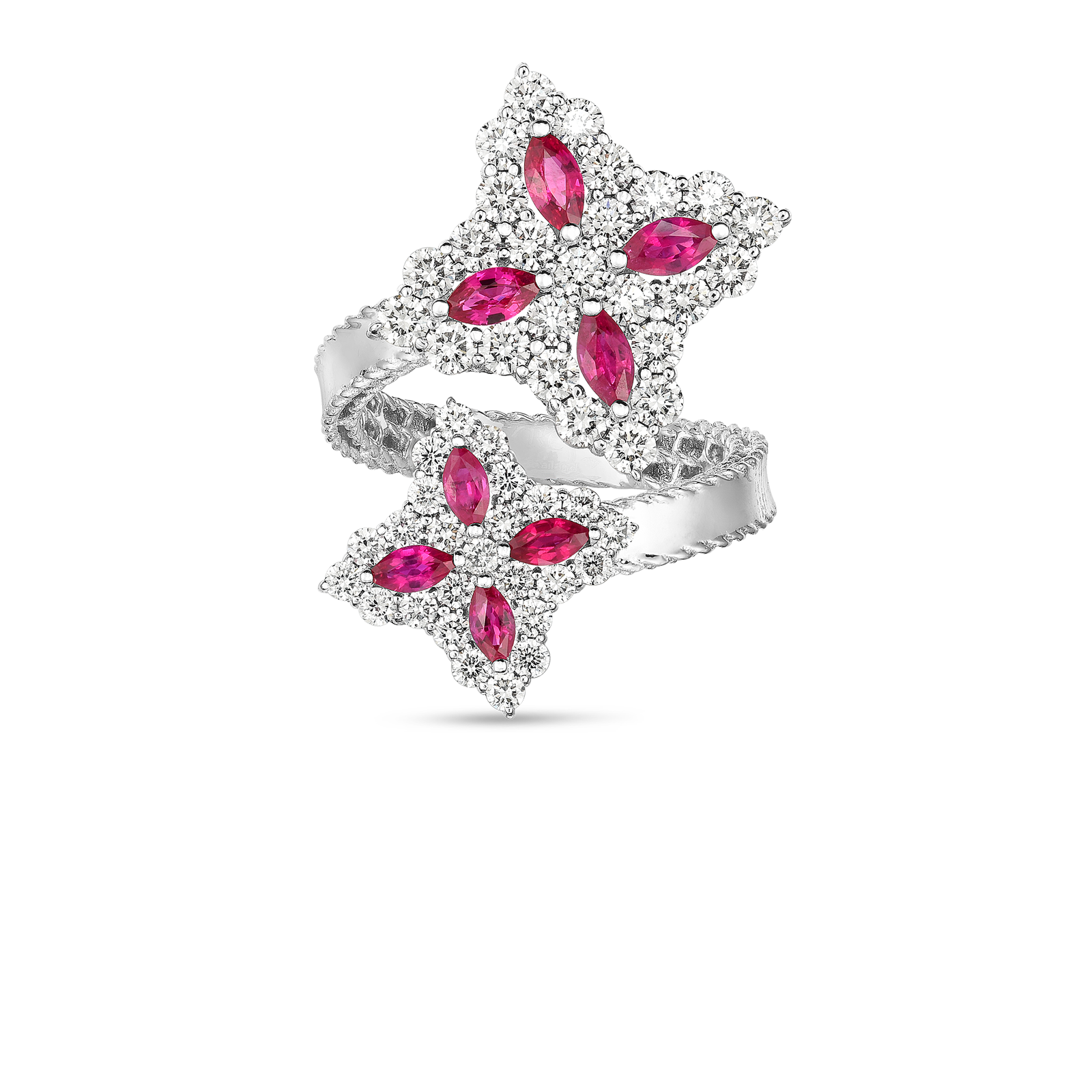 18k Gold, Diamond & Ruby Princess Flower Bypass Ring