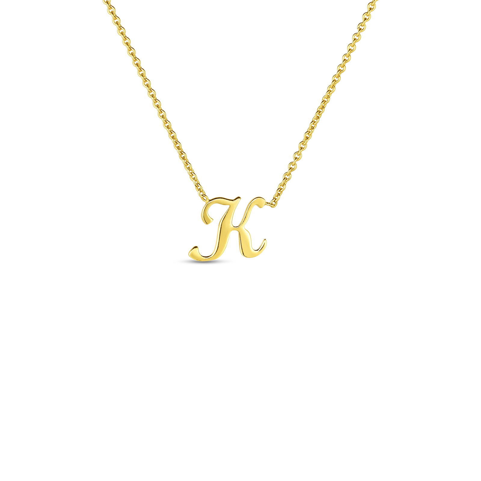 18k Small Script Initial 'K' Pendant On Chain