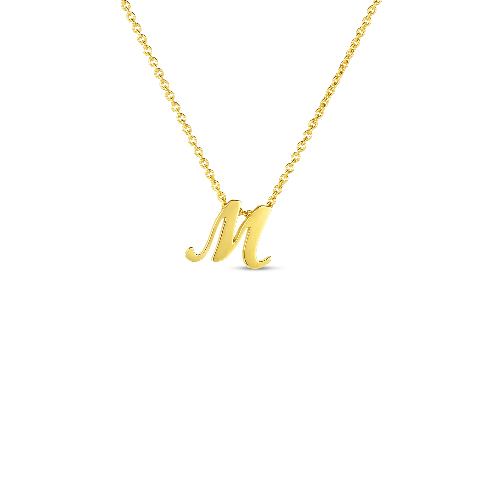 18k Small Script Initial 'M' Pendant On Chain