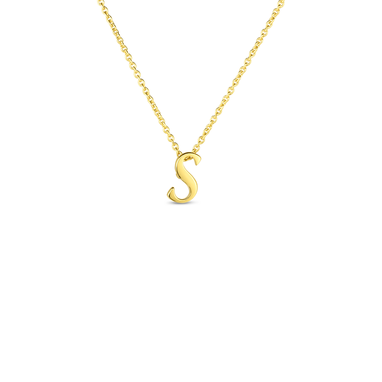18k Small Script Initial 'S' Pendant On Chain