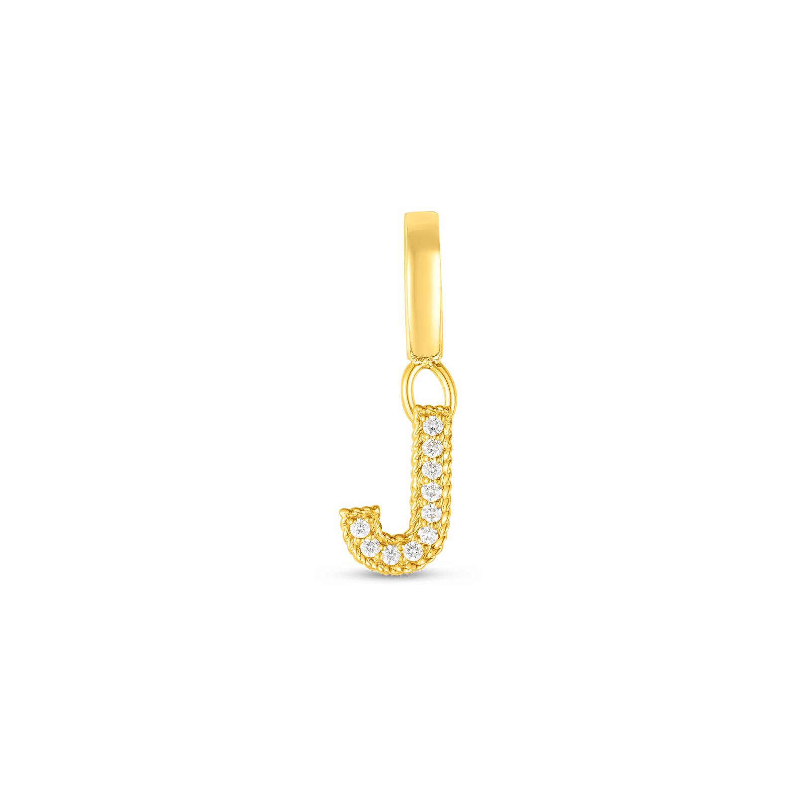 18k Gold & Diamond Princess Letter 'J' Charm
