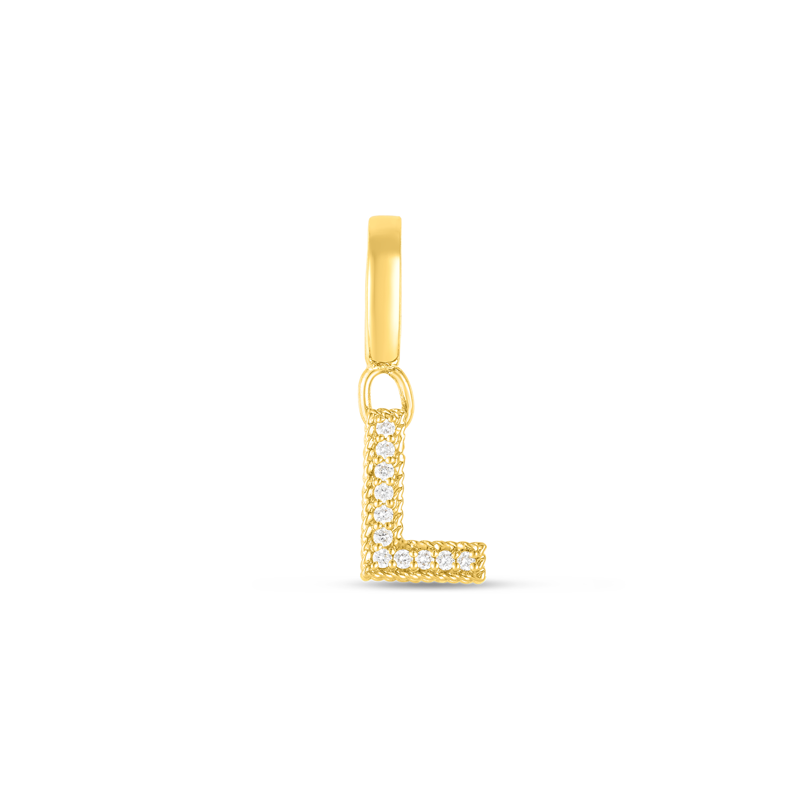 18k Gold & Diamond Princess Letter 'L' Charm