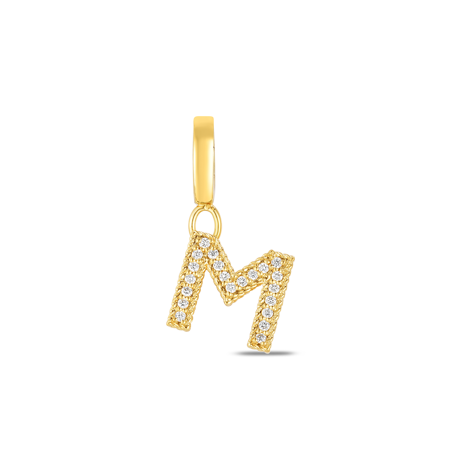 18k Gold & Diamond Princess Letter 'M' Charm