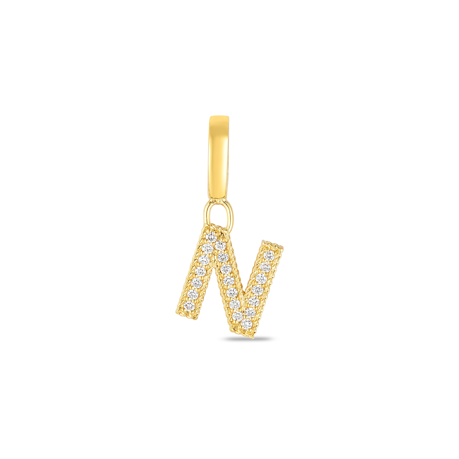 18k Gold & Diamond Princess Letter 'N' Charm