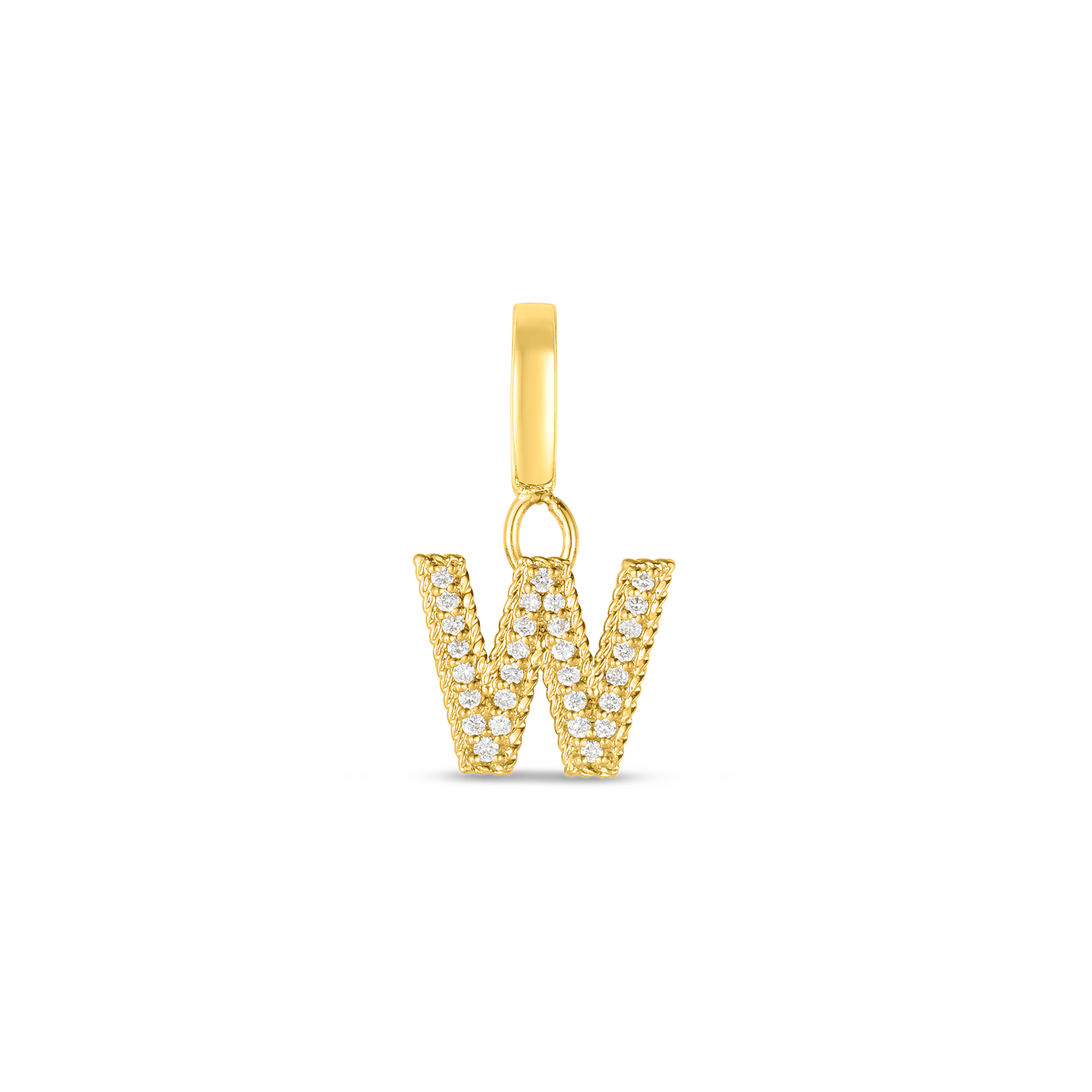 18k Gold & Diamond Princess Letter 'W' Charm