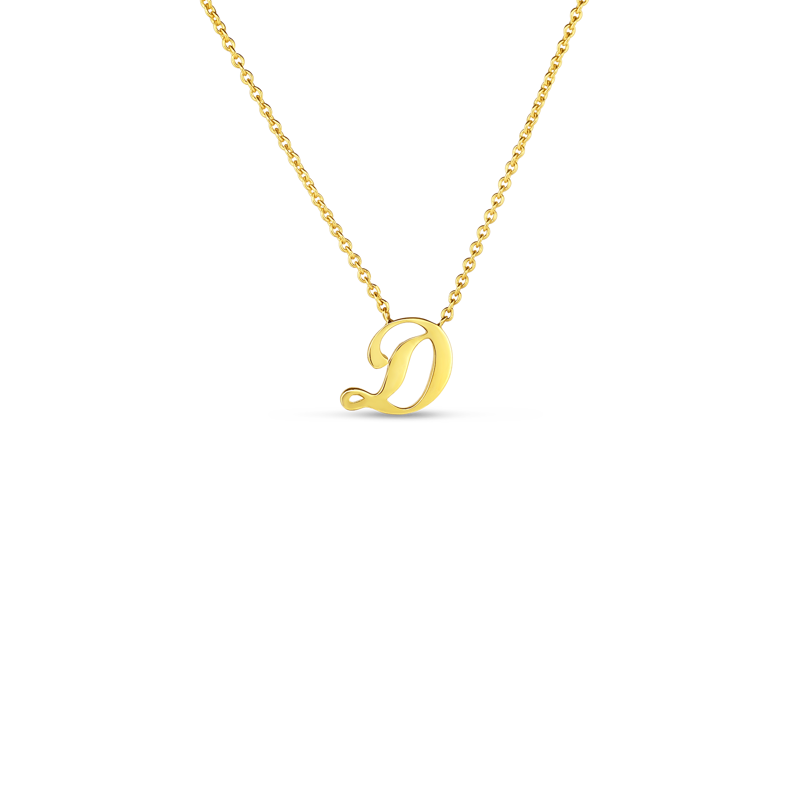 18k Small Script Initial 'D' Pendant On Chain