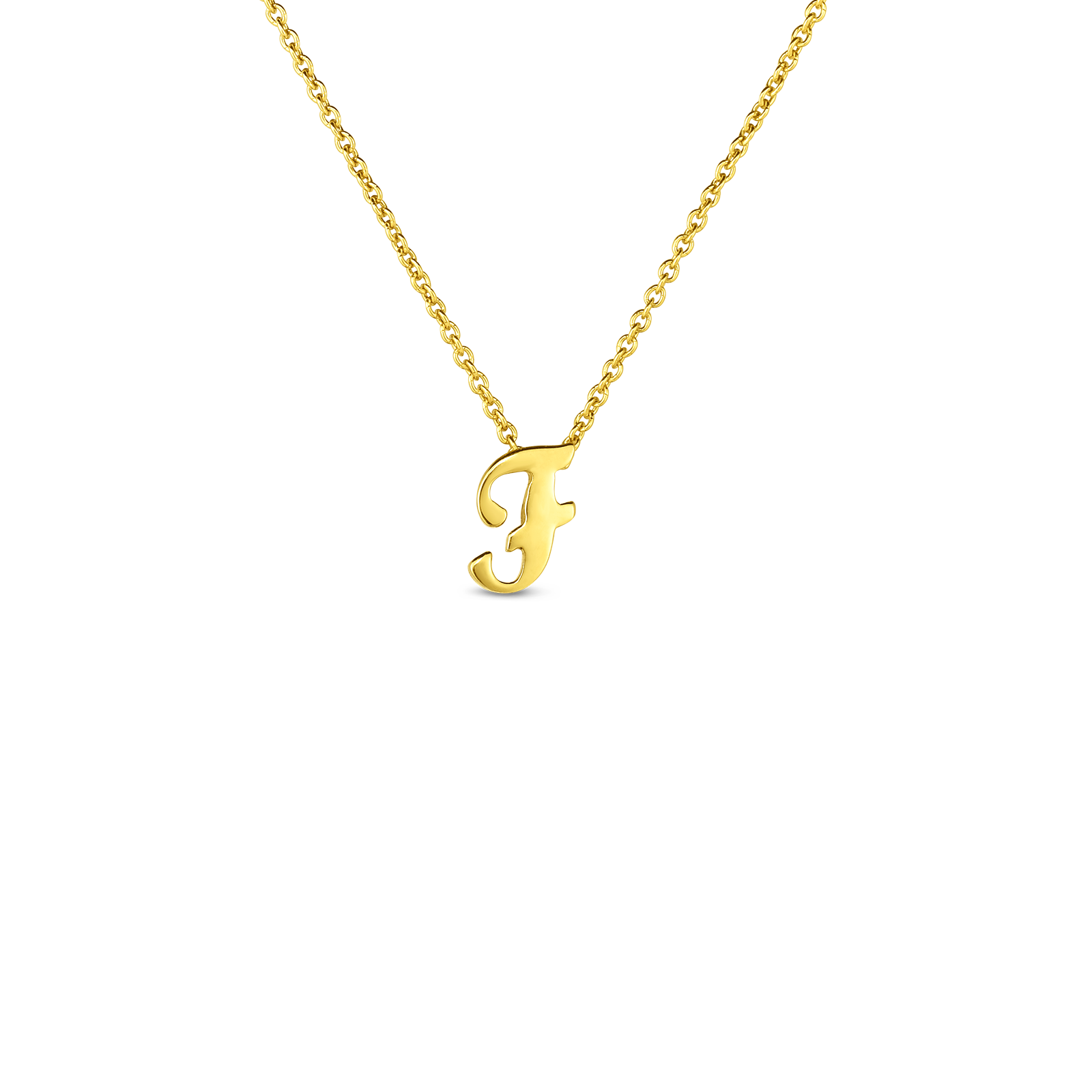 18k Small Script Initial 'F' Pendant On Chain