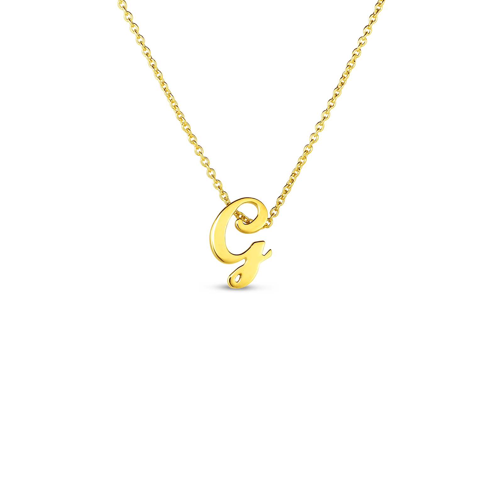 18k Small Script Initial 'G' Pendant On Chain