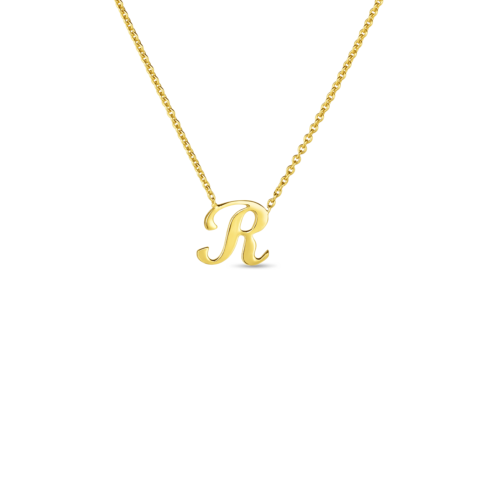 18k Small Script Initial 'R' Pendant On Chain