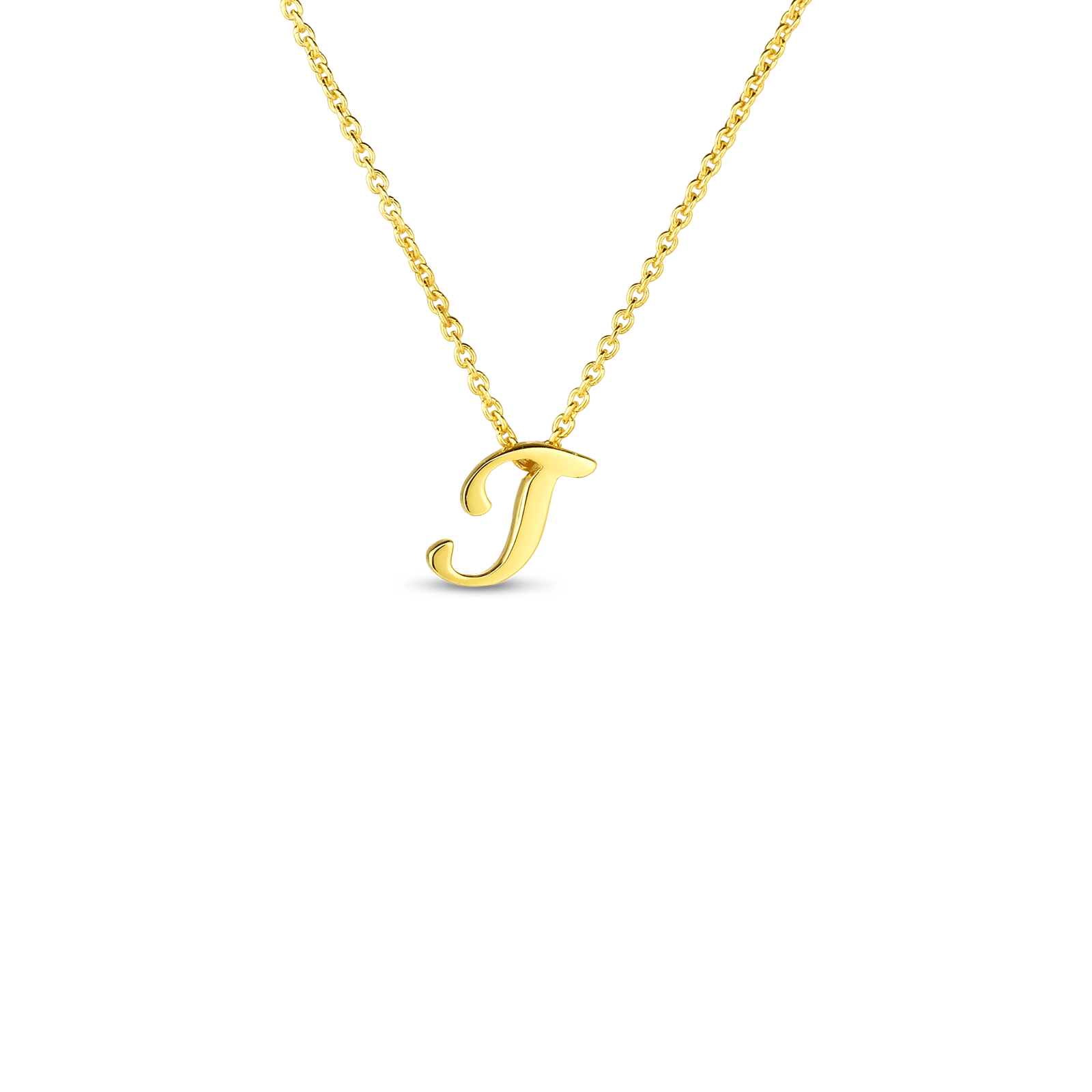 18k Small Script Initial 'T' Pendant On Chain