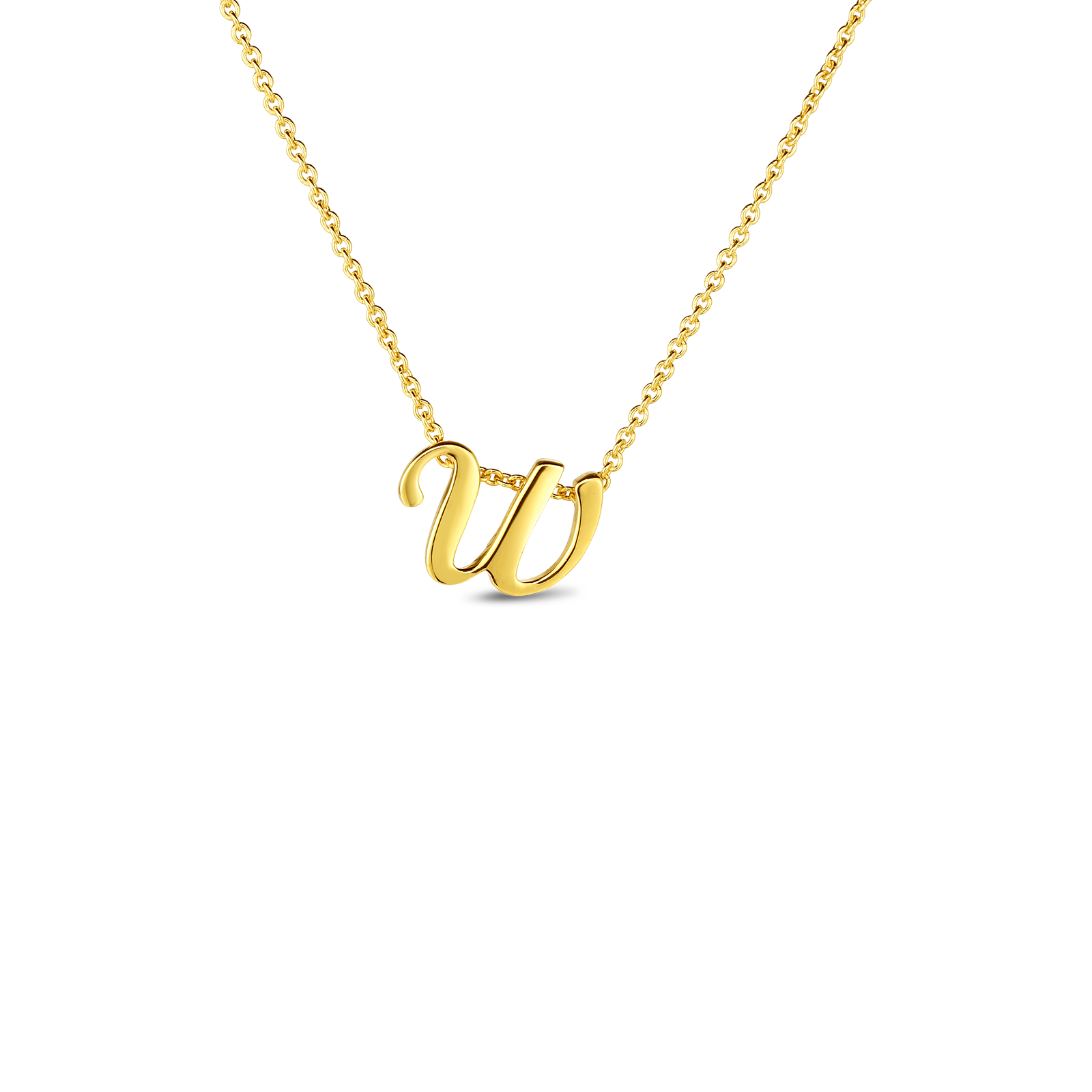 18k Small Script Initial 'W' Pendant On Chain