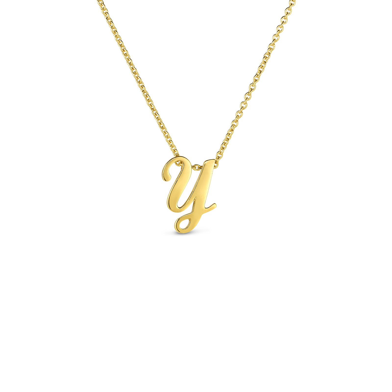 18k Small Script Initial 'Y' Pendant On Chain