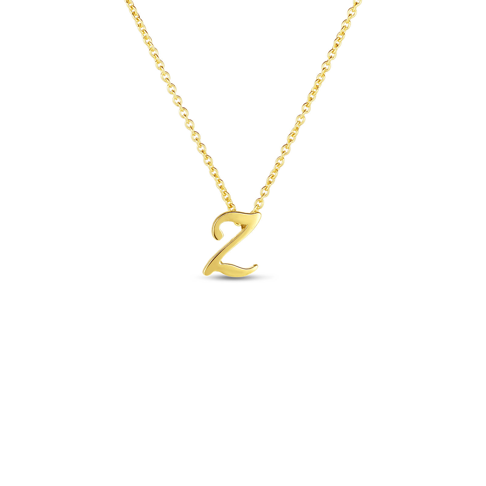 18k Small Script Initial 'Z' Pendant On Chain