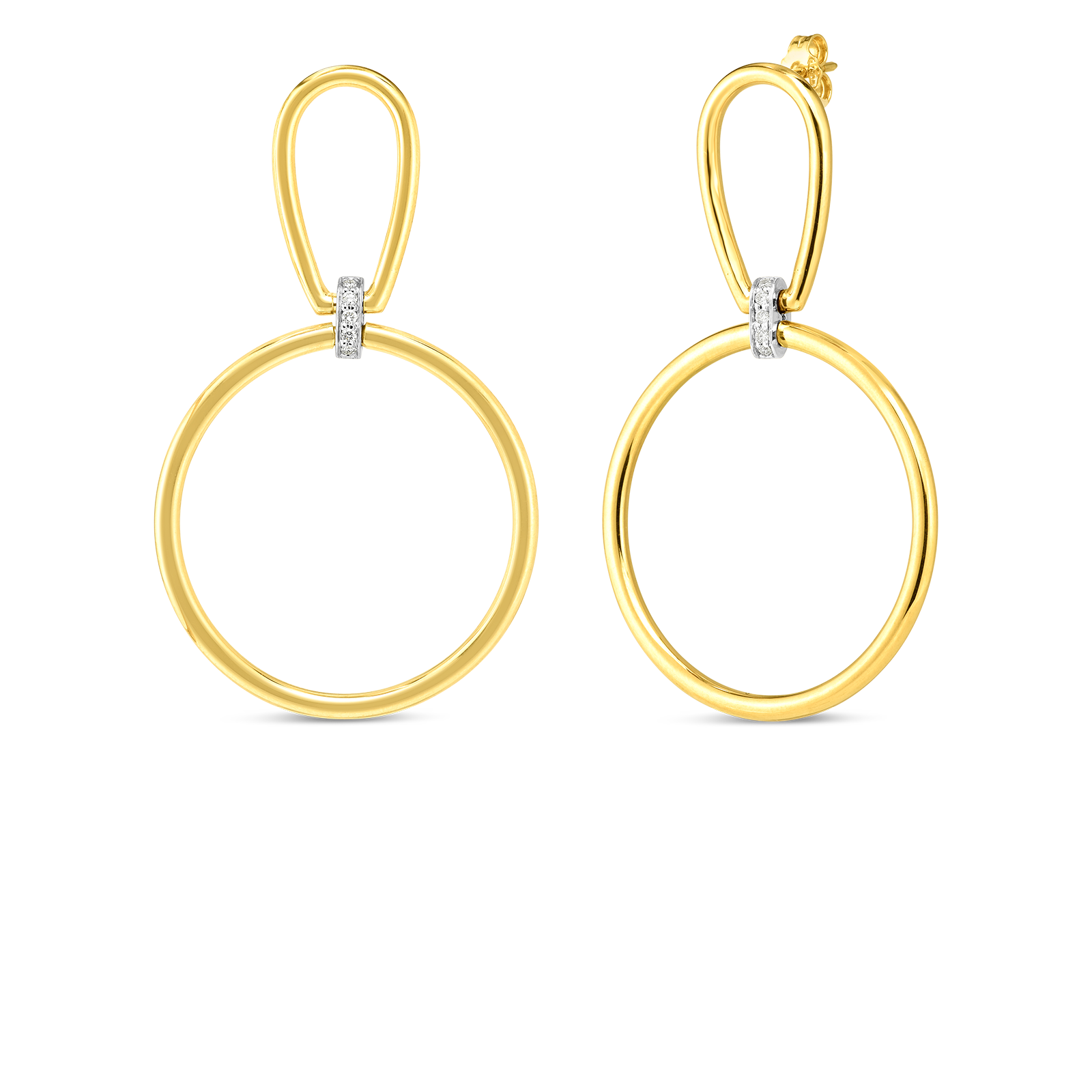 18k open stirrup & circle drop earring with diamond accent