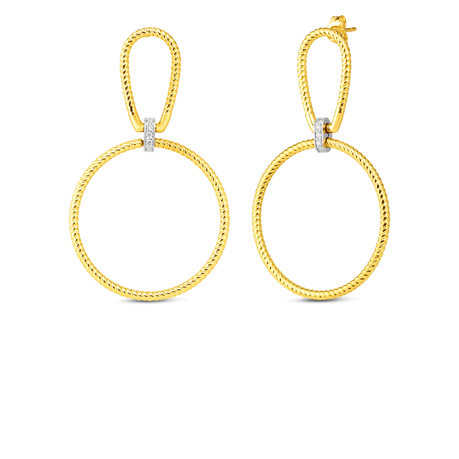 18k open twisted stirrup circle drop earring with diamond accent